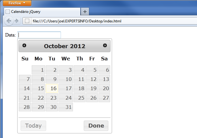 Script Calendario Html.Jquery Datepicker Criando Calendarios Em Javascript
