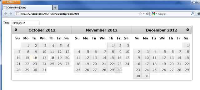 Html Calendario.Jquery Datepicker Criando Calendarios Em Javascript