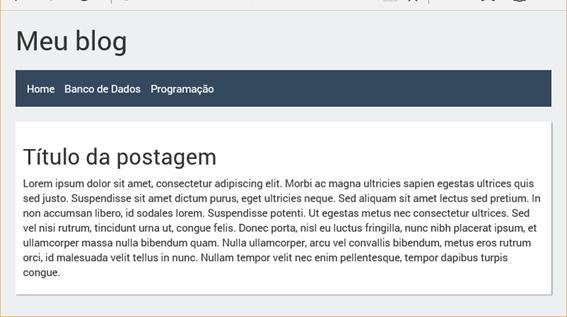 Exemplo de página usando o template