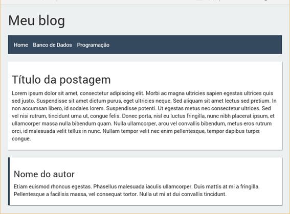 Exemplo de página usando o template com mais de uma seção