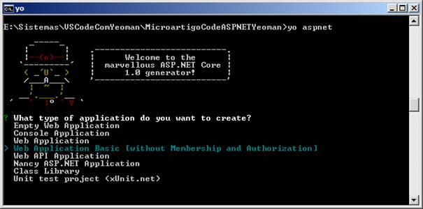 Criando projetos ASP NET Core com Yeoman