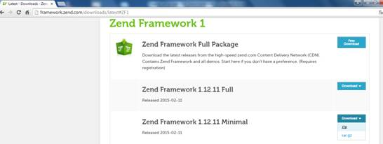 Site para download da versão 1.12.11 do Zend Framework