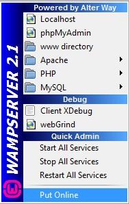 Opção para deixar o WampServer online