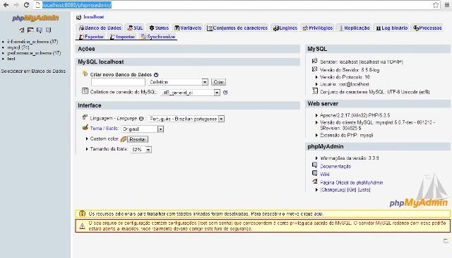 Página do PHPMYADMIN do WampServer