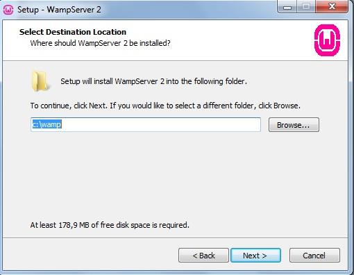 Definindo o local de instalação do WampServer