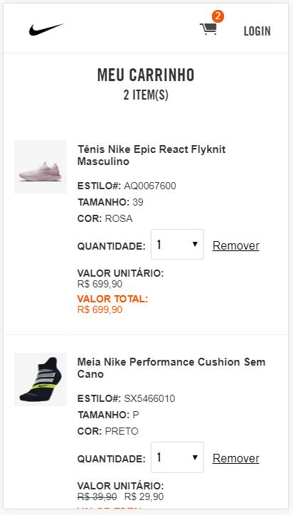 Carrinho de compras de um e-commerce