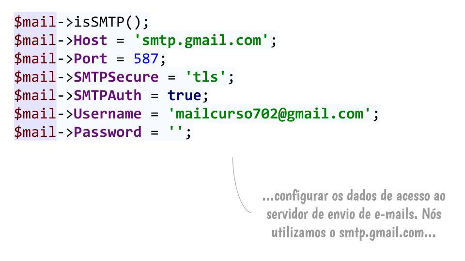 Passo 2: Configurar com os dados do servidor
