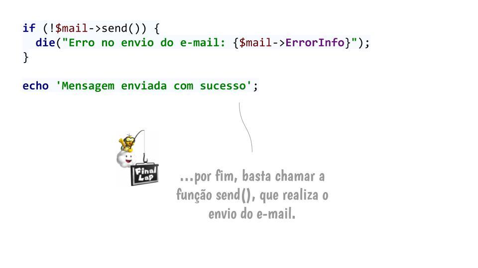 Passo 5: Enviar o e-mail com send()