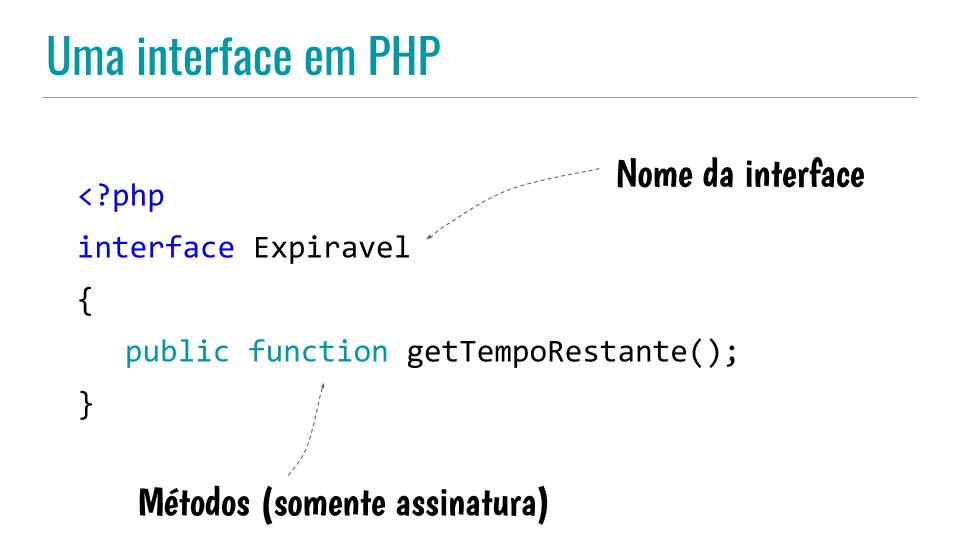 Código de uma interface em PHP