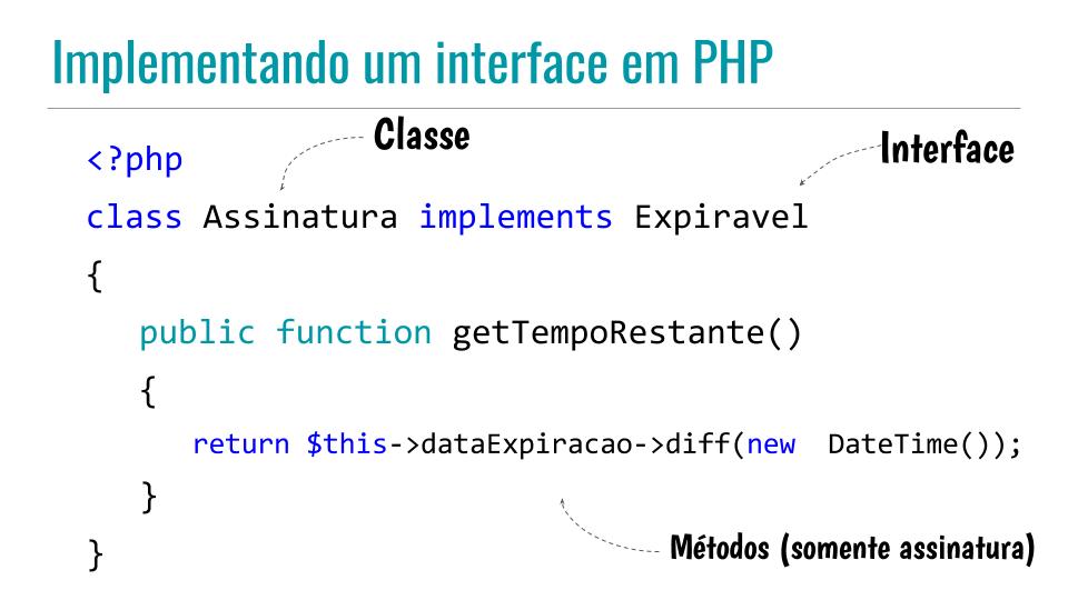Implementando uma interface em PHP