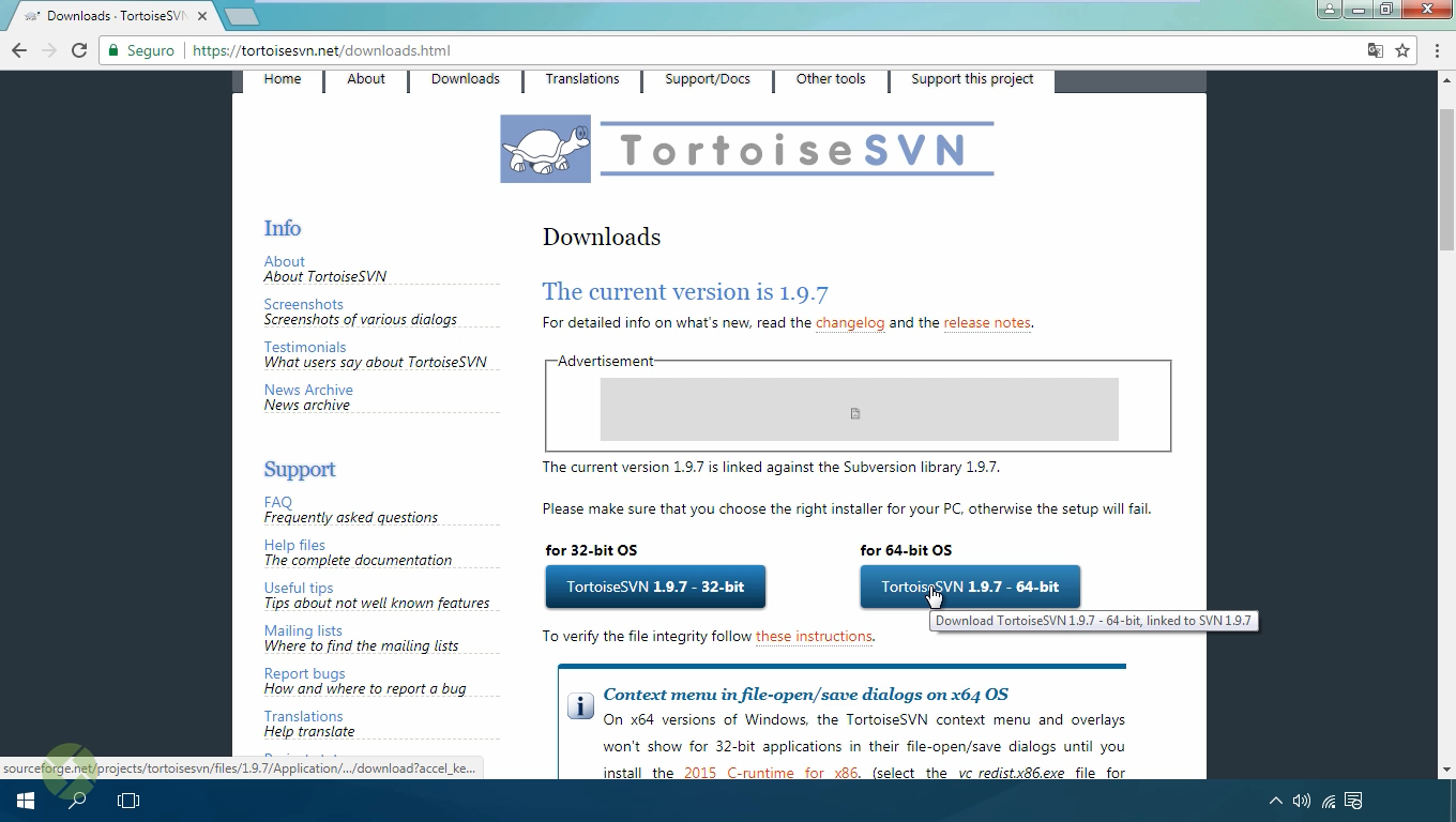 Site para download do Tortoise SVN
