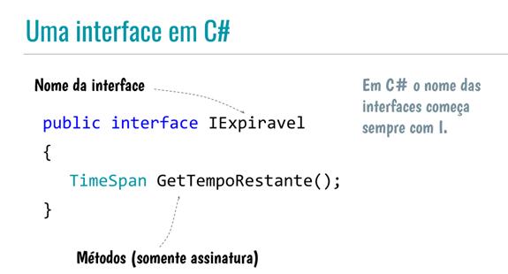 Código de uma interface em C#