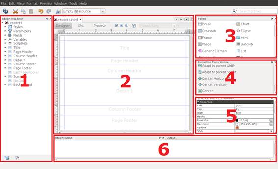 Interface do iReport