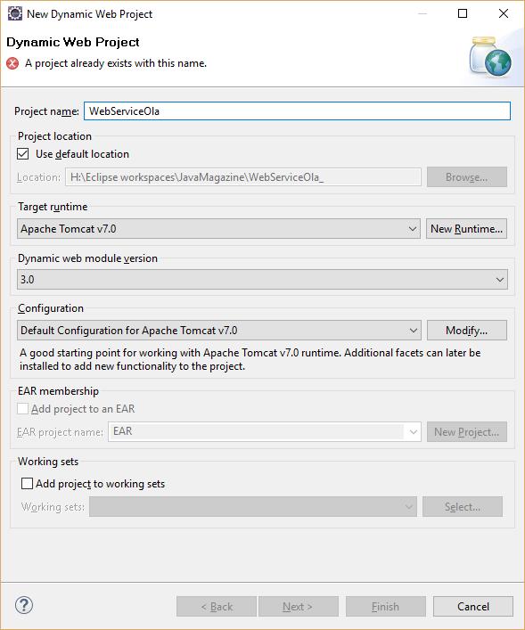 Configuração de um projeto Web Dinâmico para implementar um web service no Eclipse