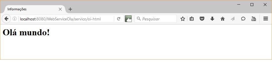 Resposta do WebServiceOla utilizando formatação HTML