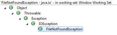 Hierarquia das exceções na linguagem Java