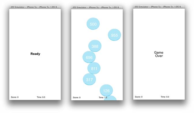 Telas de um jogo criado para Iphone com Swift